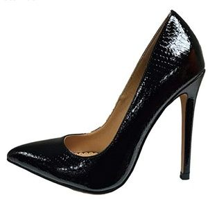 Nimo- Black Pointy Toe Faux Snakeskin Patent Pumps